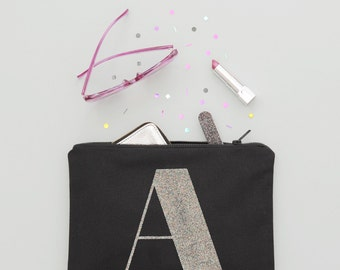 Personalised Gift For Her - Monogram Clutch - Canvas Makeup Pouch - Canvas Makeup Bag - Initial Clutch - Alphabet Bags