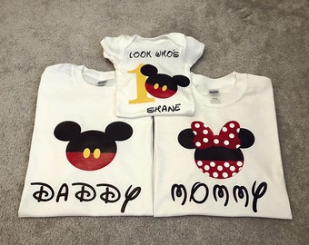 Mickey Minnie Family matching birthday shirt