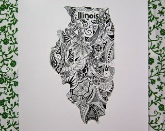 Illinois State Outline Art