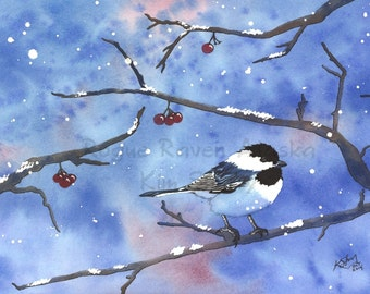 First Snow - Limited Edition Print of a Single Chickadee with Berries on the Branches