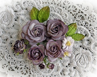 Reneabouquets Roses And Leaves Flower Set-Mulberry Paper Flowers - Dusty Purple And White Set Of 13 Pieces In Organza Storage Bag