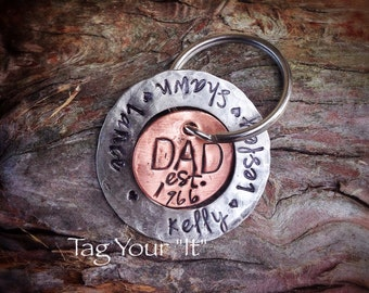 DAD keychain - Father's Day - mixed metal