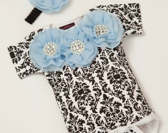 Black Damask Baby Girl One Piece Set Short Sleeve Set with Chiffon Flowers and Rhinestones