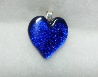BLUE DICHROIC HEART  Fused Glass Heart Pendant Dichroic Glass Trina Rindy