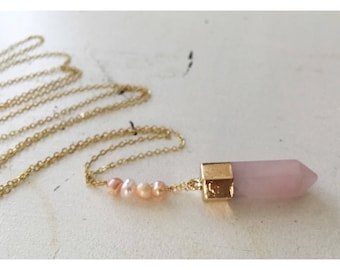 Rosita Necklace — pink rose quartz electroplated gold brass long chain no clasp pearls boho nashville