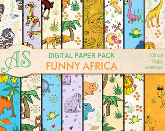 Digital Funny African Animals Paper Pack, 16 printable seamless scrapbooking papers, Digital Collage, kids clipart, Instant Download, set 57