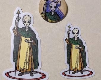 The Traveller - Ritual Magick Alien Gift Pack - Magnet, Button Pin, and Vinyl Sticker