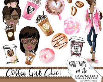 watercolor coffee clipart png file watercolor coffee clip art set watercolor planner girl watercolor coffee girl clipart medium skin tone