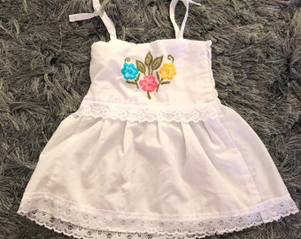 Vintage Tie Strap White Babydoll Embroidered Lace Handmade Boho Top 2/4Yrs Ruched Stretch