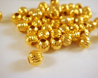 50 - 6mm Gold Ribbed Pumpkin Beads Plated Iron 2mm Hole Corrugated - 50 pc - M7011-G50