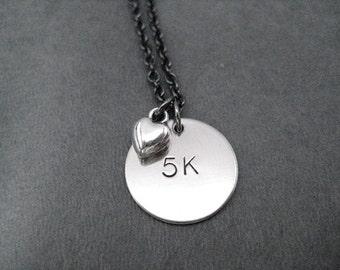 5K LOVE Necklace - Running Necklace - on 18 inch gunmetal chain - Running Jewelry - Run Necklace - 5k Running - Love to Run 5k - First 5k