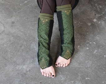 FAIRY - Leg Warmers, Boot Cuffs, Boot Socks with Rivets - green, forest green