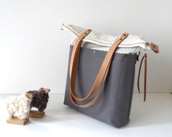 Water Proof Fabric Foldover Tote Bag Striped and Grey   canvas -  Shoulder bag / Tote Bag / Diaper Bag /School bag