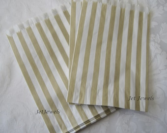 25 Gold Paper Bags, Paper Bags, Gift Bags, Candy Bags, Small Paper Bags, Party Favor Bags, Stripe Paper Bags, Baby Shower, Beige Bags 5x7