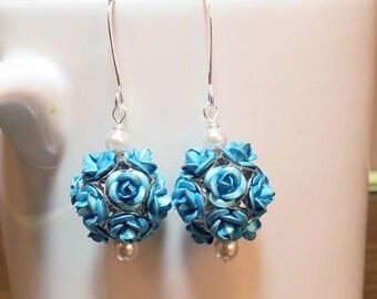 Blue Earrings, Flower Earrings, Pearl Drop Earrings, Rose Earrings, Birthday Gift for Her, Sister Gift, Friend Gift, Wife Gift, Mom Gift