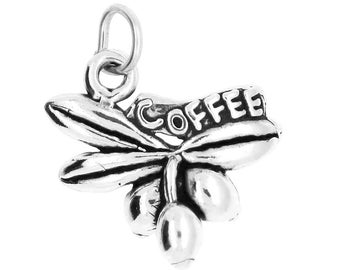 Sterling Silver Coffee Bean Coffee Tree Charm Pendant (One Sided Charm)