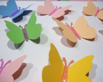 10 GLITTER BUTTERFLIES for Scrapbooking, Embellishments, Die Cuts Punchies