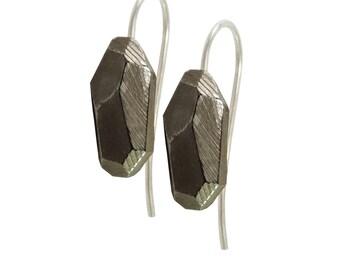 Earring Faceted 925 Sterling silver blackened: Rocky Pierced earrings Black