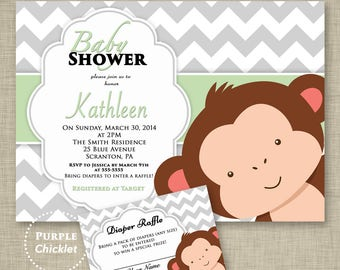 Monkey Baby Shower Invitation Diaper Raffle Set Mint Green and Gray Chevron Party Invite High Resolution Printable Digital Invite (27)