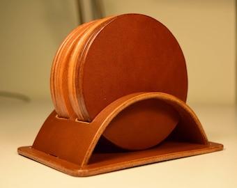 Leather Coaster Set, Leather coasters, personalised coasters, Set of 6