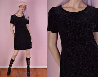 90s Rainbow Hologram Glitter Black Velvet Dress/ US 8/ 1990s/ Short Sleeve/ Party Dress