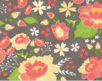 Lulu Lane ~ Floral Meadow in Slate Coral by Corey Yoder ~ Moda fabrics .. 29020 20 ~ By the Yard