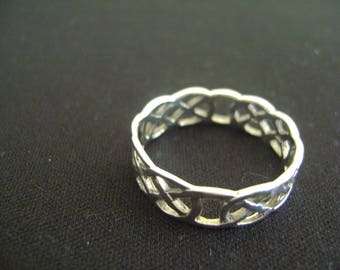 Vintage Sterling Silver Intertwined Braided Ring