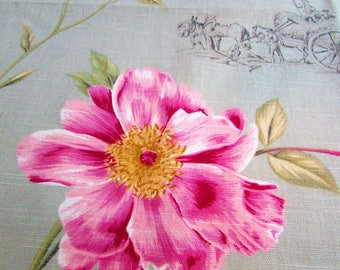 Large Scale Floral Fabric Sample - 15 by 24 inches