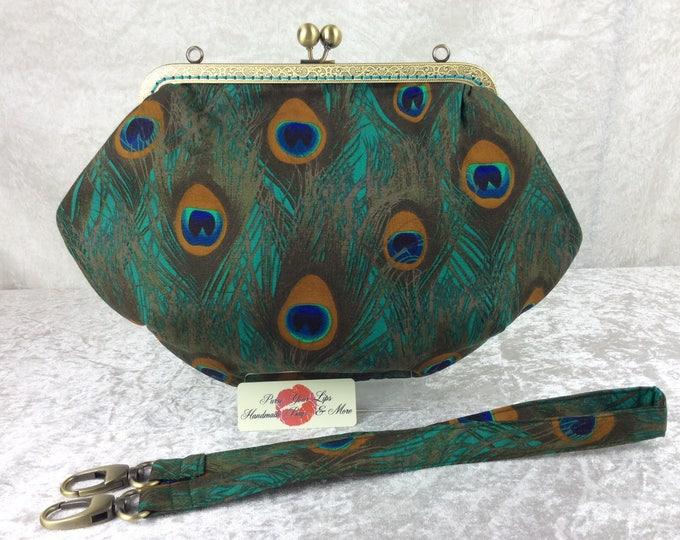 Peacock feathers Fabric purse bag frame handbag fabric clutch shoulder bag frame purse kiss clasp bag Handmade