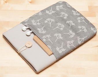iPad Pro 12.9 cover, iPad Pro 12.9 case, 12.9 inch iPad Pro sleeve,  iPad Pro cover - Grey floral