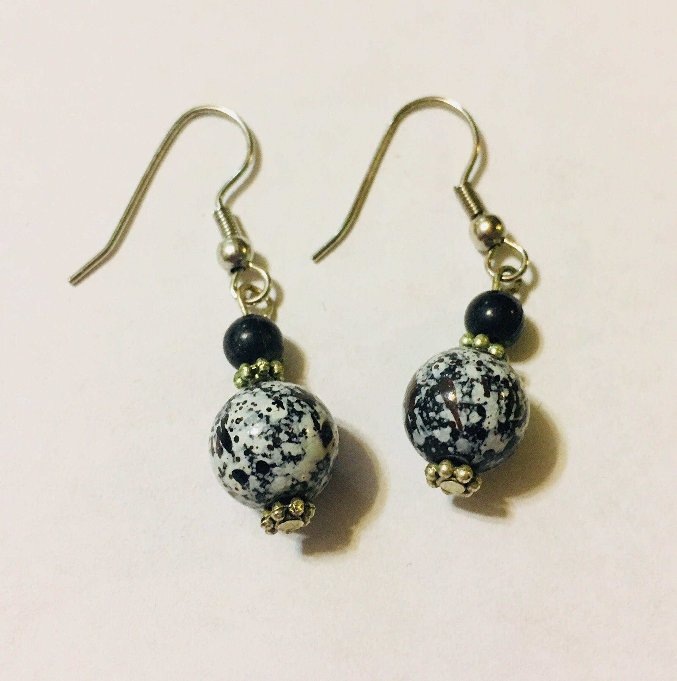 beaded earrings bead blackwhite white shop black