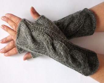 "Fingerless Gloves Gray Arm Warmers 9"" Knit Soft"