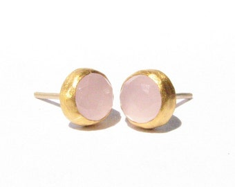 Rose Quartz Gold Studs Earrings - 24k Solid Gold - Rose Cut Earrings - Post Earrings - Stone Earrings - Yellow Gold Studs - Made to order.