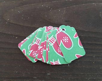 12 Red and Green Mittens with Snowflakes Christmas Gift Tags, small favor tags, retail jewelry tags, handmade holiday party favors 1 inch