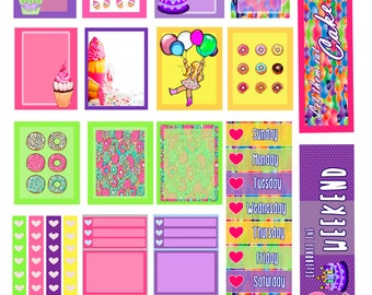 Birthday Cupcake Planner Stickers/ Instant Digital Download/EC planner/ Birthday party/ Pink, Purple, Green & Yellow/ Balloons/ Happy B-Day