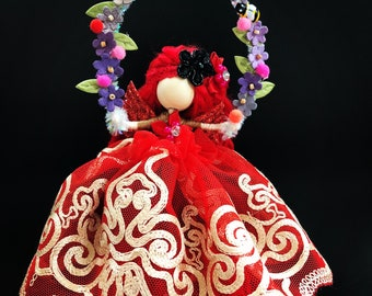 Spring Red Fairy Art Doll
