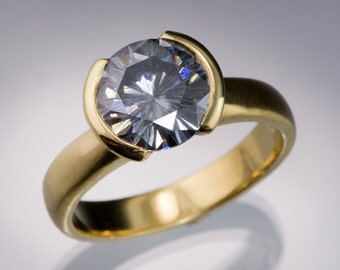 2ct Gray Moissanite Palladium Engagement Ring with Half Bezel Setting, Made in Yellow Gold or Rose Gold, Palladium, Platinum, White gold