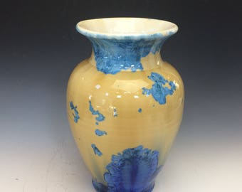 Blue and Gold Crystalline Bud Vase