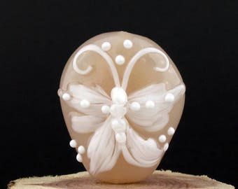 Lampwork Glass Focal Cottontail Cream Butterly