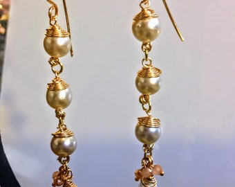 Vintage Pearl and Ametrine Gold Wire Wrapped Earrings with Czechoslovakian Glass