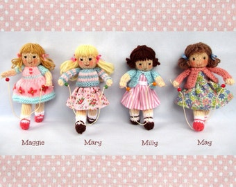 Little Skipping Friends - 4 doll knitting pattern - INSTANT DOWNLOAD