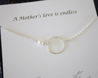 Infinity Mothers Gift , Mother Wedding Necklace, Thank You Card, White Pearl, Sterling Silver Necklace Karma, Mother of the Bride, Circle