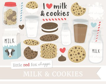 Milk & Cookies Clipart, Chocolate Chip Cookie Clip Art, Milk Bottle Clipart, Milk Clipart, Cute Digital Graphic Design Small Commercial Use