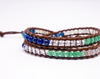Leather and natural stones bracelet