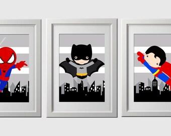 superhero wall art prints, superhero bedroom or nursery wall art, superhero  inspired, pick 3 characters, high quality prints shipped
