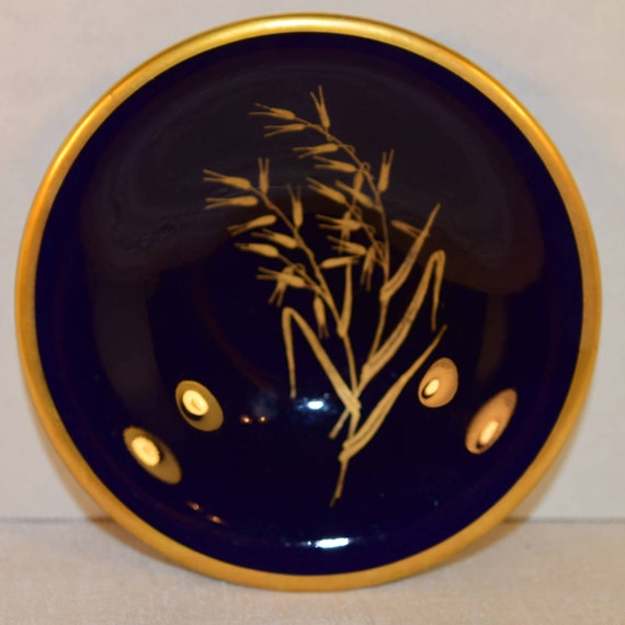 Bavaria Lindner Echt Cobalt Plate Set of 6 Vintage Cobalt Blue 6 Small Plates Goldgrasses 24 Carat Gold Trim Made in West Germany Lot of 6