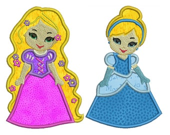PRINCESSES 1 - Machine Applique Embroidery - 2 Patterns in 2 Sizes - Instant Digital Download