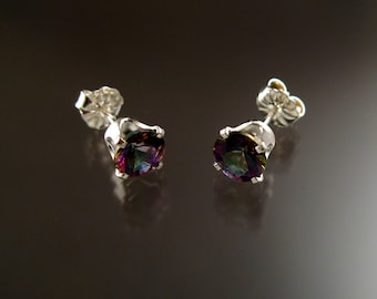 Mystic Topaz 6mm round post earrings Sterling Silver