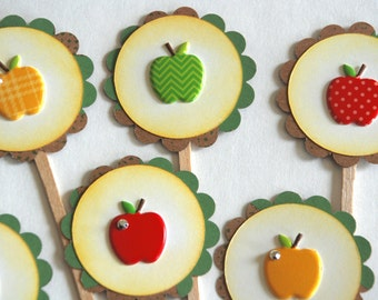 Apple of my Eye Cupcake Toppers. Apple cupcakes. Fruit party. Back to school decorations. Teacher gift. Fall themed party supplies. Bling.