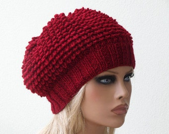 Women Knit Berets, Red Womens knit winter hats, Slouchy hat, Womens Knit Hat, Hand knit hat for women, Knit  shunky beret